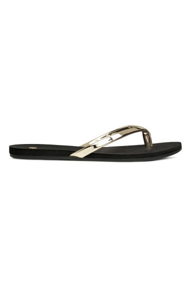 Flip-flops - Black/Gold-coloured -  | H&M