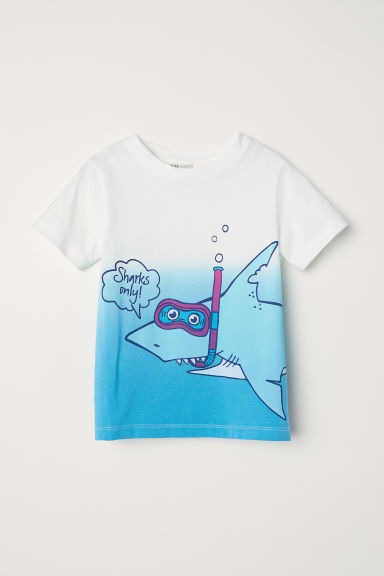 Printed T-shirt - Blue/Shark -  | H&M