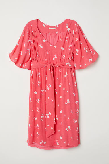 MAMA V-neck dress - Coral/White floral - Ladies | H&M GB