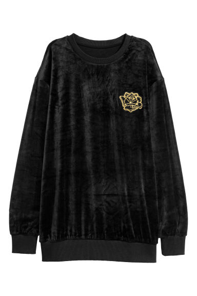 Velour sweatshirt - Black -  | H&M CN