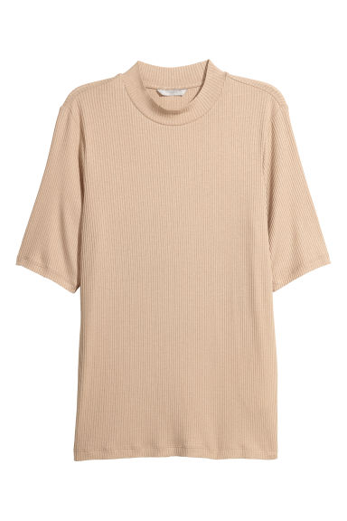 Ribbed turtleneck top - Beige - Ladies | H&M CN