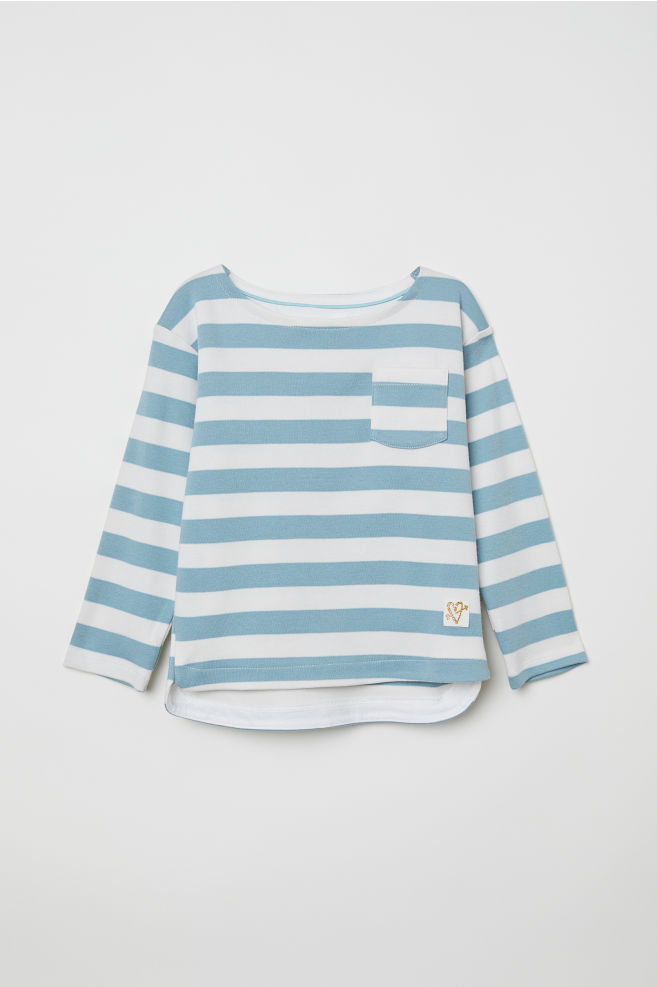 Striped Jersey Top - Light turquoise/striped - Kids | H&M CA 3