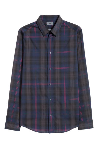 Shirt Slim Fit - Dark blue/Red checked - Men | H&M