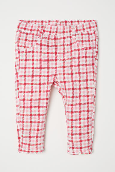 Patterned cotton trousers - White/Red checked -  | H&M CN