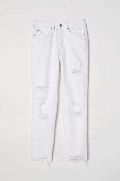Slim Mom Jeans Trashed - White - Ladies | H&M GB