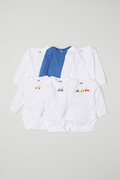 6-pack long-sleeved bodysuits - Blue/Vehicles - Kids | H&M