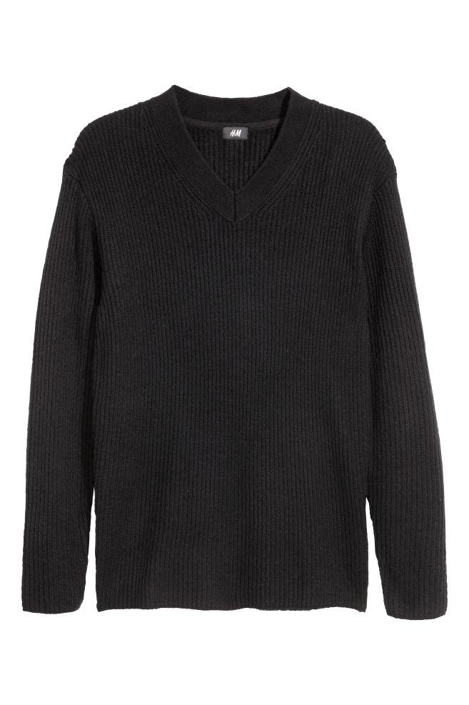d7db14dad2 V-nyakú pulóver - Fekete - FÉRFI | H&M ...