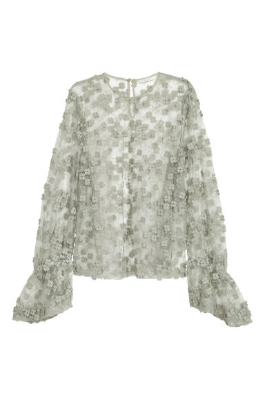 Lace blouse - Dusky green -  | H&M CN