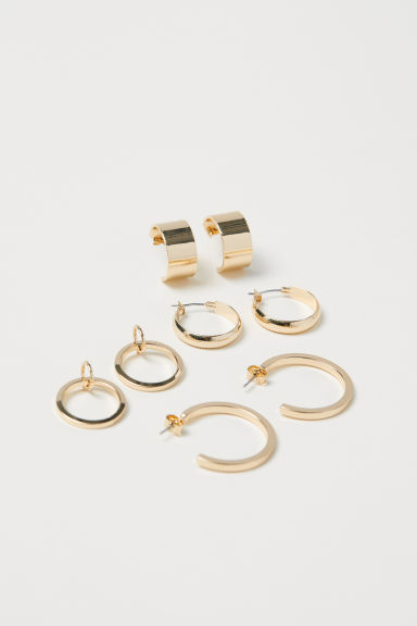 4 pairs earrings - Gold-coloured - Ladies | H&M CN