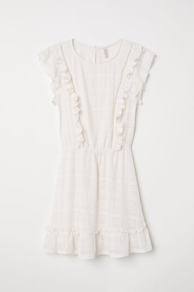 Dress with frills - White - Ladies | H&M