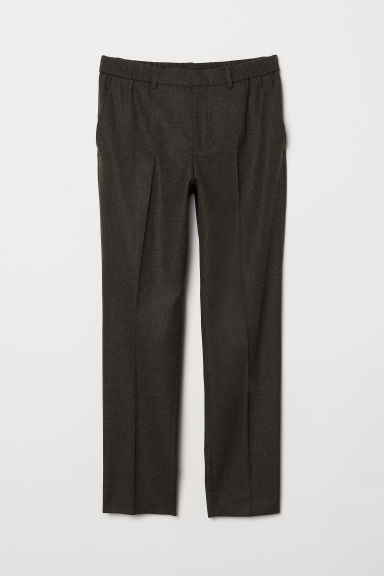 Elasticated wool trousers - Dark grey - Men | H&M