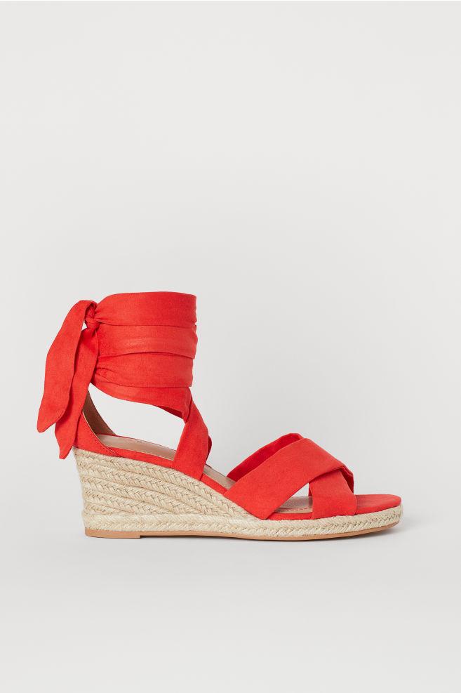 8089a62502442 Wedge-heeled Sandals - Red - Ladies | H&M ...