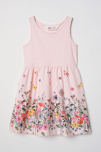 Sleeveless jersey dress - Light pink/Flowers - Kids | H&M