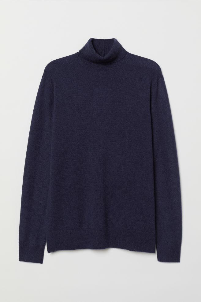 676a93222 Cashmere Turtleneck Sweater - Dark blue - Men