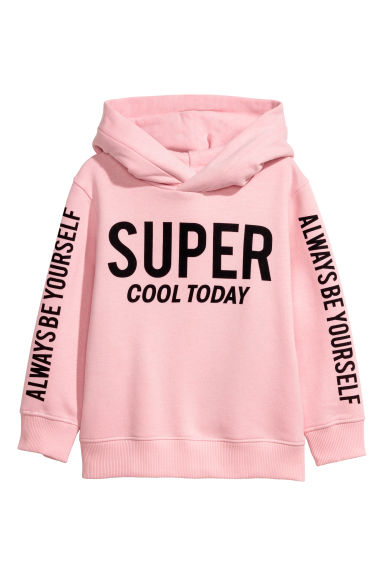 Printed hooded top - Light pink - Kids | H&M