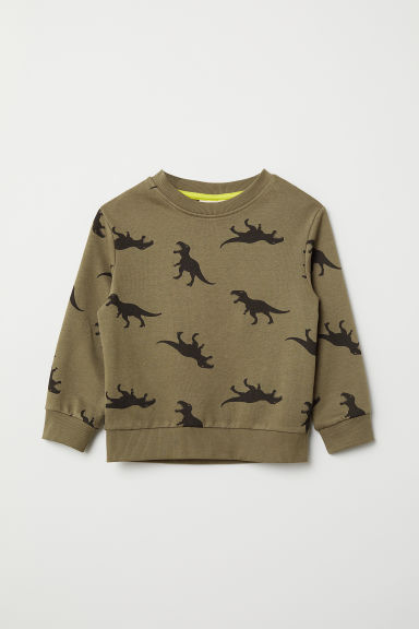 Sweatshirt - Dark khaki green/Dinosaurs - Kids | H&M