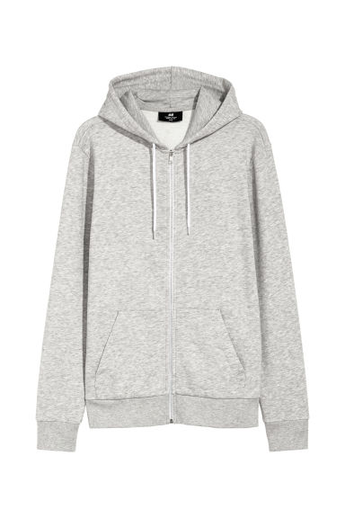 Hooded jacket Regular fit - Light grey marl - Men | H&M