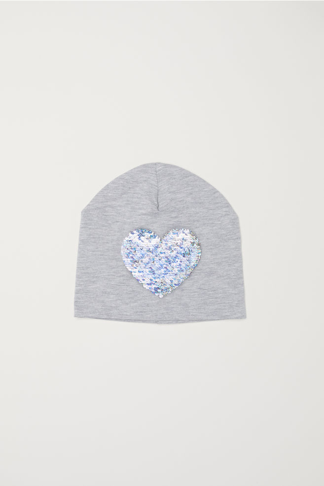 8968b54658b Hat with Reversible Sequins - Light gray heart - Kids
