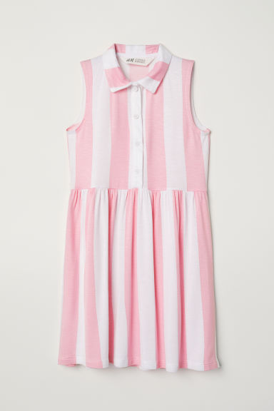 Jersey dress - White/Pink striped -  | H&M