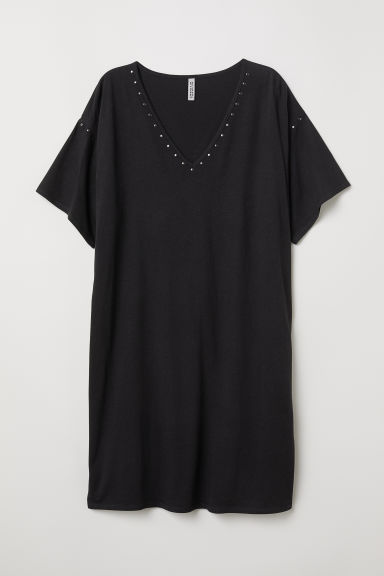 T-shirt dress with studs - Black -  | H&M
