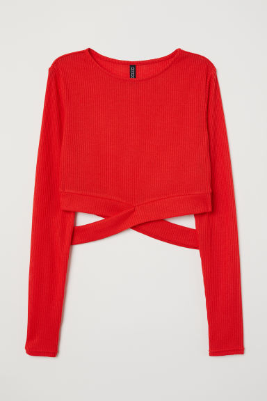Cropped jumper - Bright red - Ladies | H&M CN
