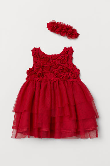 Dress and hairband - Dark red - Kids | H&M