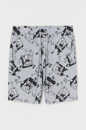 Patterned sweatshirt shorts