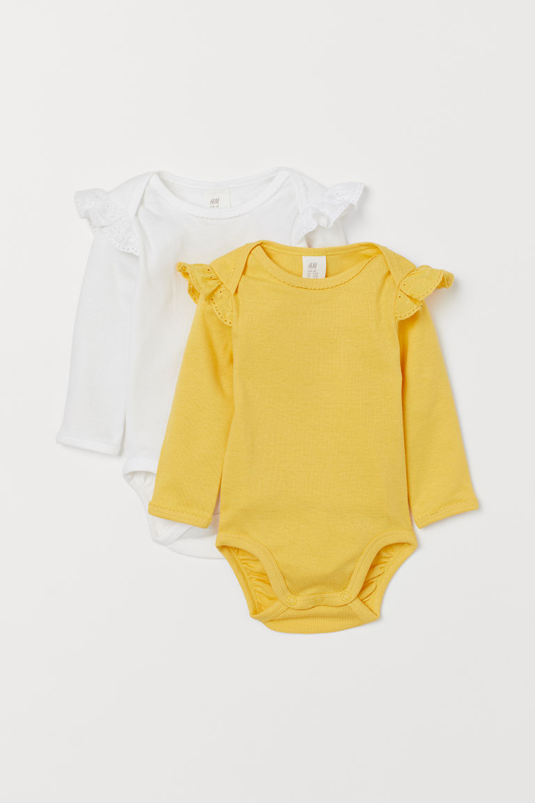 2-pack frilled bodysuits - Yellow - Kids | H&M