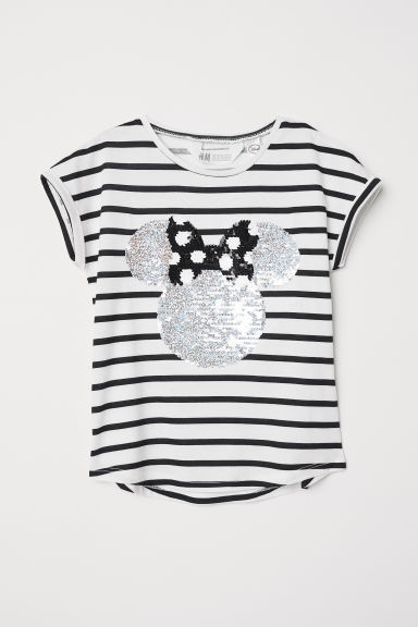 T-shirt met pailletten - Wit/Minnie Mouse - KINDEREN | H&M BE