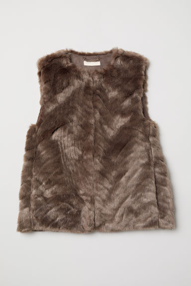 Faux Fur Vest - Taupe - Ladies | H&M US