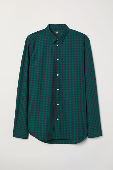 Poplin shirt Regular Fit - Green/Dark blue checked - Men | H&M