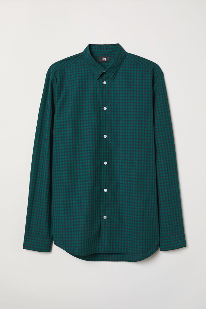 273f97dd655f Poplin shirt Regular Fit - Green/Dark blue checked - Men | H&M ...
