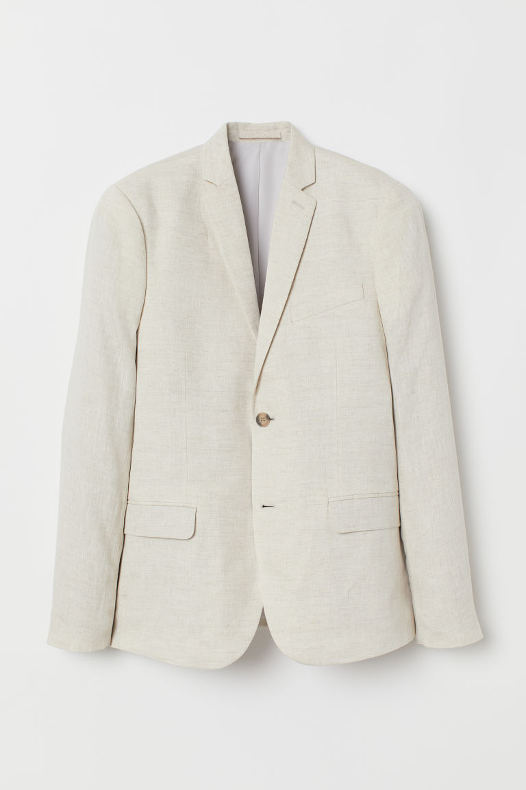 Linen jacket Slim Fit - Light beige - Men | H&M GB