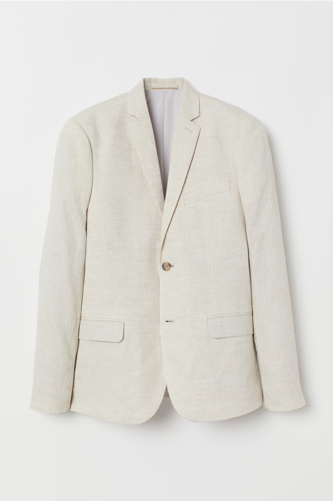 2c815864ced1 ... Slim Fit Linen Blazer - Light beige - Men