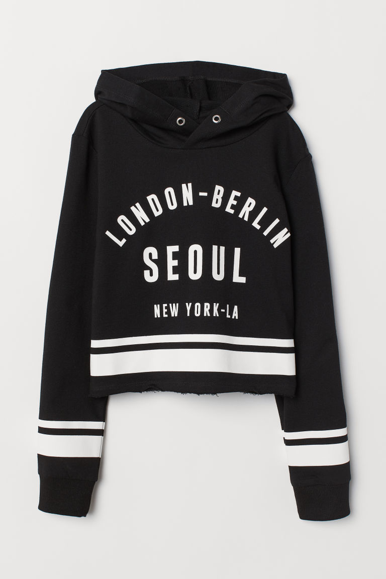 Printed hooded top - Black/London - Kids | H&M