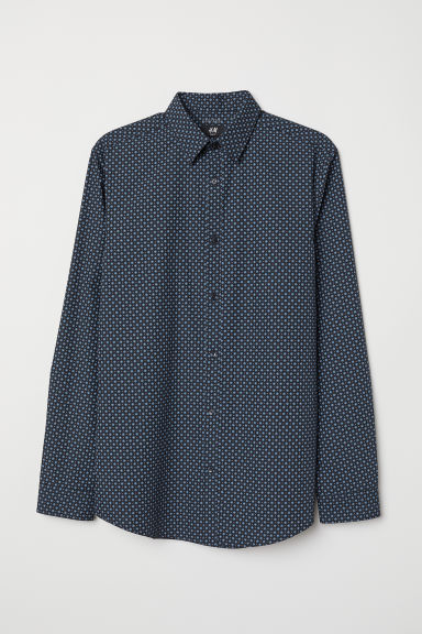 Easy-iron shirt Slim fit - Dark blue/Blue patterned - Men | H&M