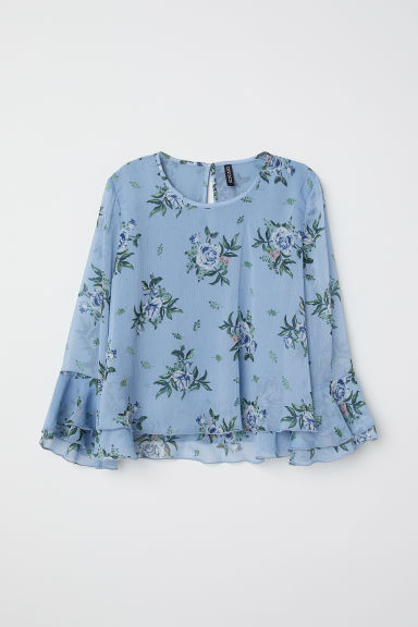 Flounced chiffon blouse - Pigeon blue/Floral - Ladies | H&M