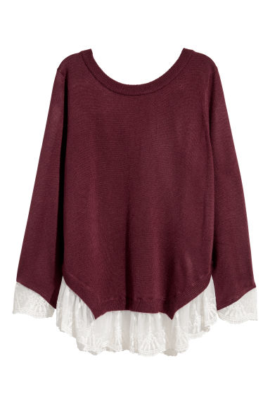 Jumper with lace trims - Burgundy - Ladies | H&M