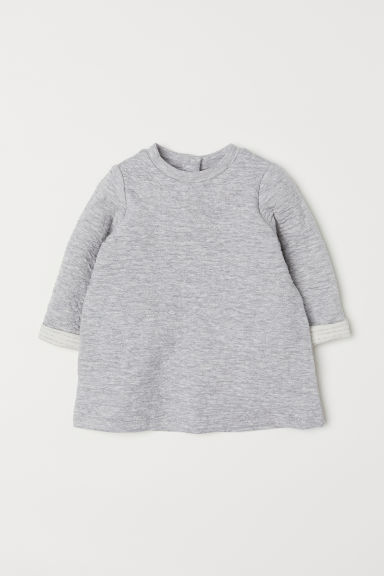 Textured dress - Light grey marl - Kids | H&M