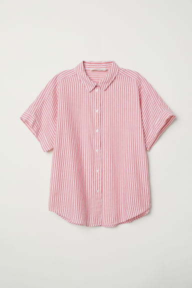Short-sleeved cotton shirt - Red/White striped - Ladies | H&M