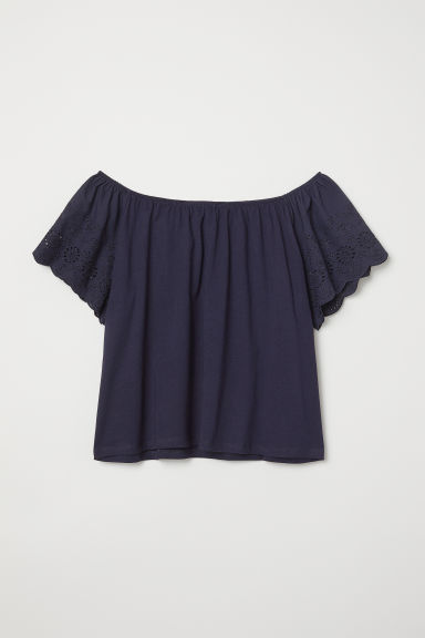 Top with embroidery - Dark blue - Ladies | H&M