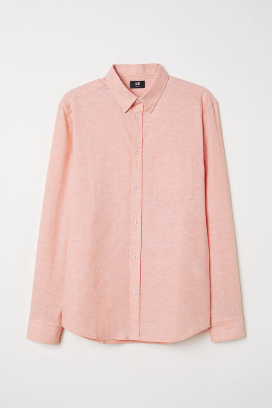 Linen-blend shirt Slim Fit - Coral - Men | H&M