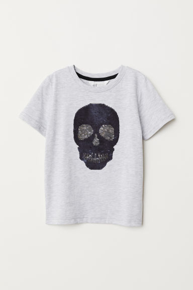 T-shirt with a motif - Light grey marl/Skull - Kids | H&M CN