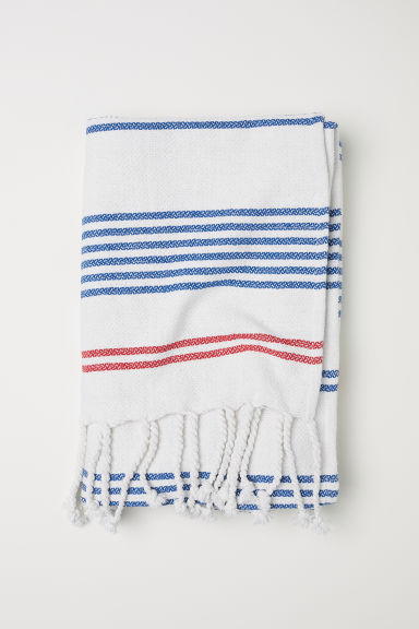 Striped blanket - White/Striped -  | H&M CN