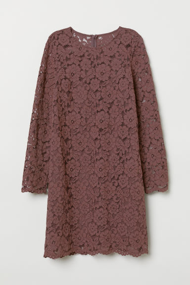 Short lace dress - Dark plum - Ladies | H&M CN