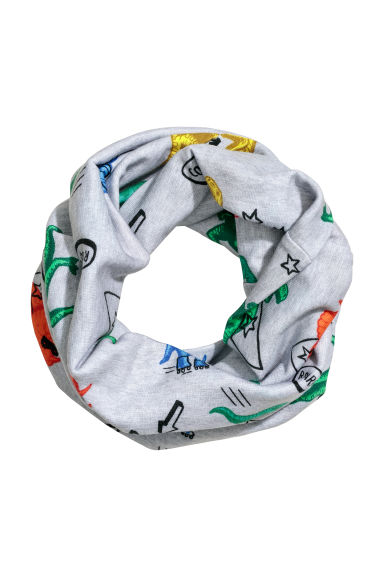 Jersey tube scarf - Light grey/Dinosaurs -  | H&M