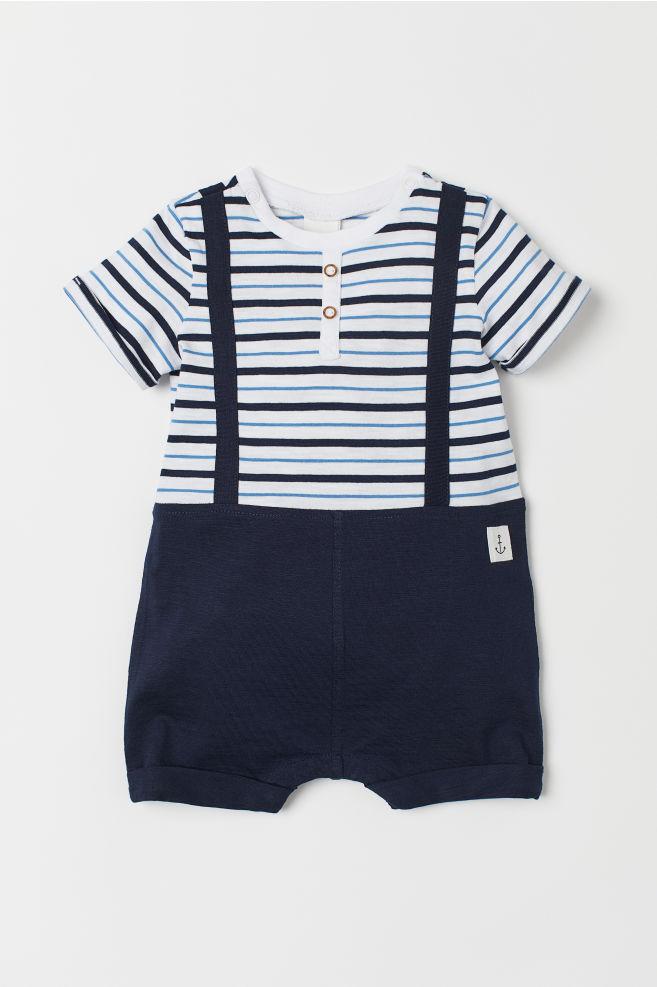 c4b6457b3 Pelele marinero de punto - Azul oscuro/Rayas - NIÑOS | H&M ...