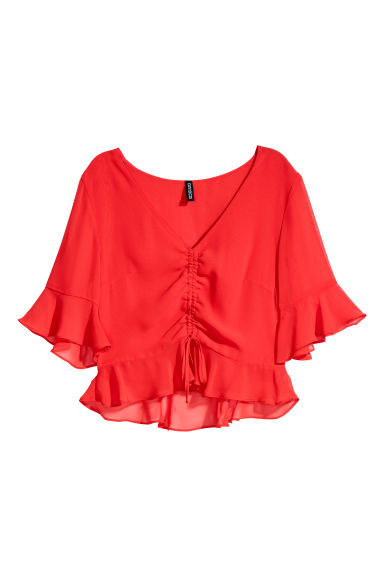 Drawstring blouse - Bright red - Ladies | H&M