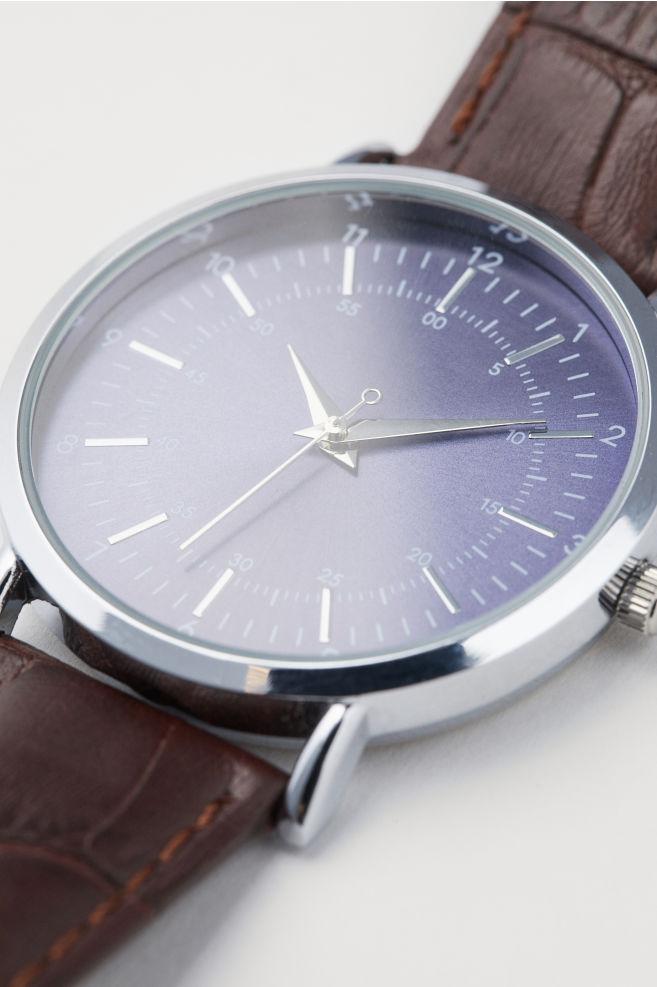 97ac40ea3 Wristwatch with Leather Strap - Brown/dark blue - Men | H&M ...