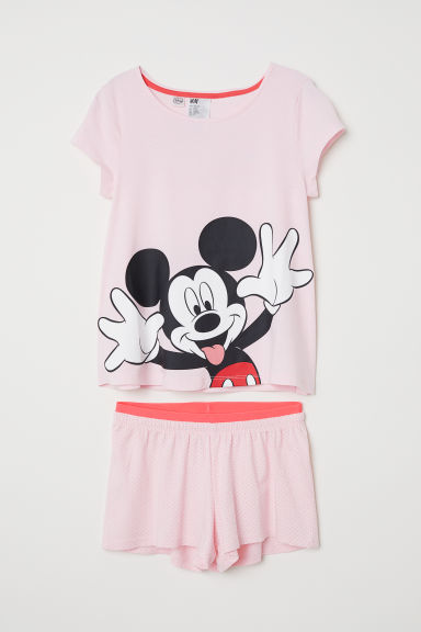 Tricot shortama - Lichtroze/Mickey Mouse - KINDEREN | H&M BE